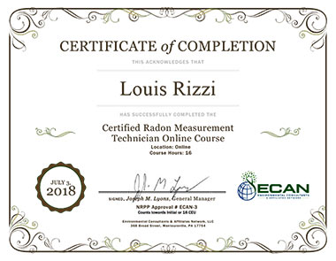 Louis Rizzi is an ECAN Certified Radon Measurement Technician.
